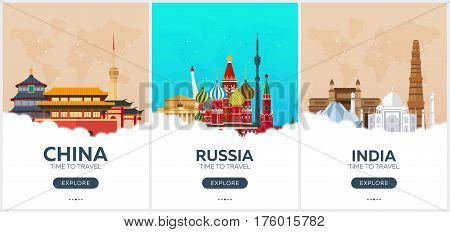 China, Russia, India. Time To Travel. Set Of Travel Posters. Vector Flat Illustration.