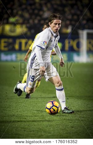 VILLARREAL, SPAIN - FEBRUARY 26: Luka Modric during La Liga match between Villarreal CF and Real Madrid at Estadio de la Ceramica on February 26, 2017 in Villarreal, Spain
