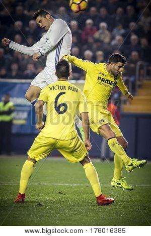 VILLARREAL, SPAIN - FEBRUARY 26: (UP) Cristiano Ronaldo during La Liga match between Villarreal CF and Real Madrid at Estadio de la Ceramica on February 26, 2017 in Villarreal, Spain