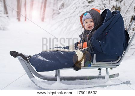 Happy young boy out playing in the snow on his sledge. Child sledding. Toddler kid riding sledge. Children play outdoors in snow. Kids sled in snowy park. Outdoor winter fun for family Christmas vacation.