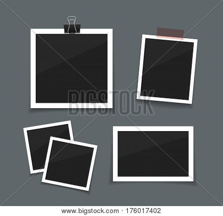 Vector retro photo frames sticked with paper tape and hanged with paper clip. Instant photo frame collection. Empty photo on dark back ground.
