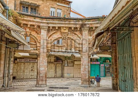 JERUSALEM, ISRAEL - MAY 24, 2016: Morning at the closed old city bazaar Bazaar very popular site for tourists and pilgrims.