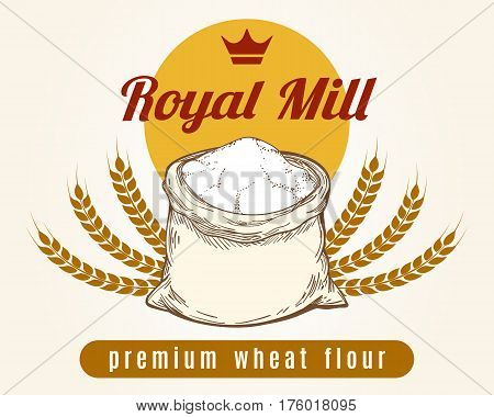 Whole bag of wheat flour vector sketch. Premium mill product emblem