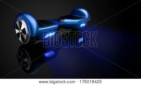 Blue hover board, on a black Background