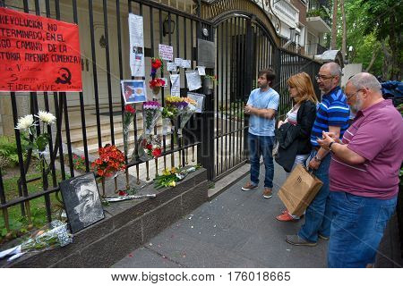 Buenos Aires Argentina - Nov 26 2016: People gather to pay tribute to Fidel Castro at the Embassy of Cuba in Buenos Aires Argentina.