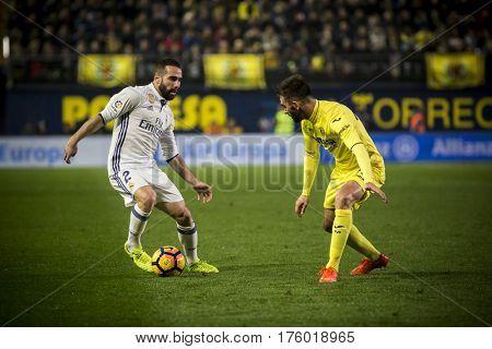 VILLARREAL, SPAIN - FEBRUARY 26: (L) Carvajal and Adrian during La Liga match between Villarreal CF and Real Madrid at Estadio de la Ceramica on February 26, 2017 in Villarreal, Spain