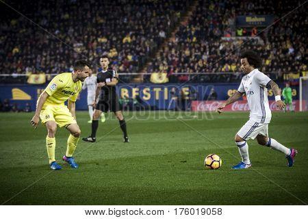 VILLARREAL, SPAIN - FEBRUARY 26: (R) Marcelo and Mario during La Liga match between Villarreal CF and Real Madrid at Estadio de la Ceramica on February 26, 2017 in Villarreal, Spain