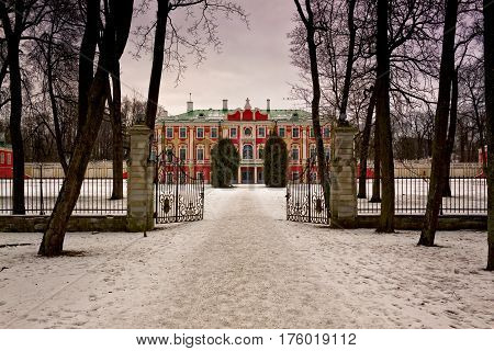 The gate is open for any visitor to the Kadriorg palace at Tallinn Estonia. The palace is the most notable landmark at the park at the capitol of Estonia.