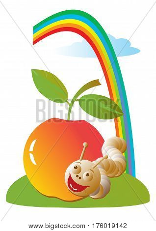 Vector illustration of a red apple on the green grass, cheerful worm and rainbow in the sky.  Isolated on a white. Cartoon on the theme of ecology