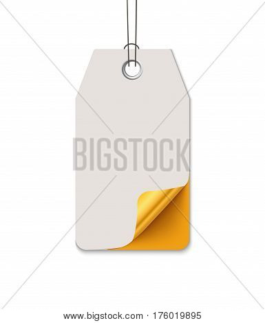 Sale tag design, realistic vector paper label with curved corner. Hanging sale tag