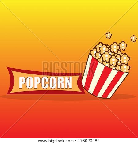 Classic popcorn ads, delicious popcorn flying out of cardboard box isolated on yellow and red background