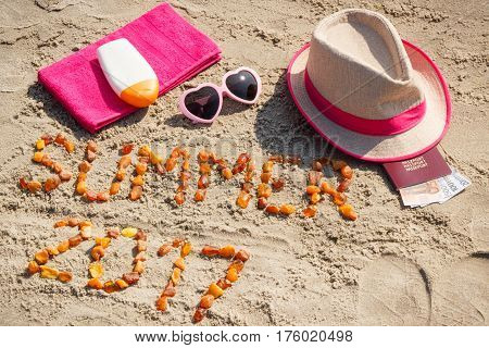 Inscription Summer 2017, Accessories For Sunbathing And Passport With Currencies Euro On Sand At Bea