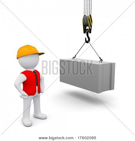 small three-dimensional man in a red jacket, commanding crane lifts the block