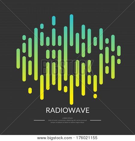 The image of the sound wave. FM radio logo. Vector illustration.