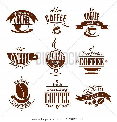 Cafeteria or cafe icons of coffee drinks, cups and beans. Espresso hot aroma steam or cappuccino mug and chocolate latte macchiato froth. Premium symbols of americano or moka for coffeehouse design