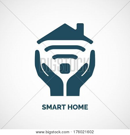 Vector icon of smart home. Sign TV and Wi-Fi. Isolated image of modern technology.