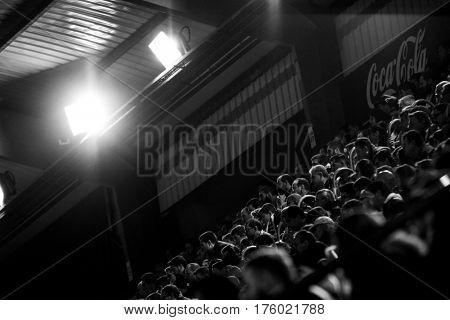 VILLARREAL, SPAIN - FEBRUARY 26: Spectators during La Liga match between Villarreal CF and Real Madrid at Estadio de la Ceramica on February 26, 2017 in Villarreal, Spain