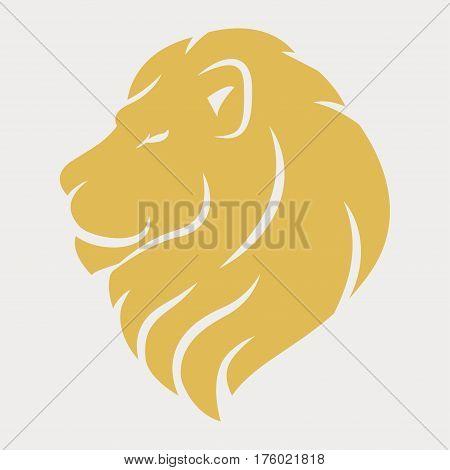 Lion head logo royal cat profile Golden luxury emblem Vector