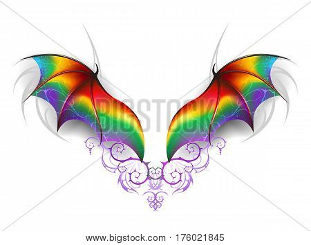 Beautiful rainbow wings of a fairy dragon on a white background. Wings of a rainbow dragon.