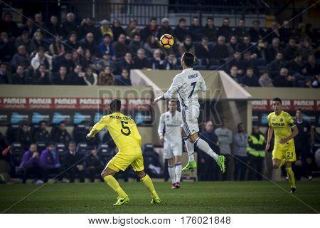 VILLARREAL, SPAIN - FEBRUARY 26: 7 Ronaldo during La Liga match between Villarreal CF and Real Madrid at Estadio de la Ceramica on February 26, 2017 in Villarreal, Spain