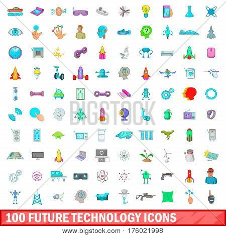 100 future technology icons set in cartoon style for any design vector illustration