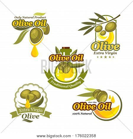 Olive oil vector icons set for bottle and product label templates. Green olives and extra virgin natural organic oil drop for farm store or market, cooking and cosmetic or pharmaceutical industry
