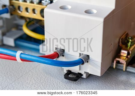 Connect electrical socket on the DIN rail closeup