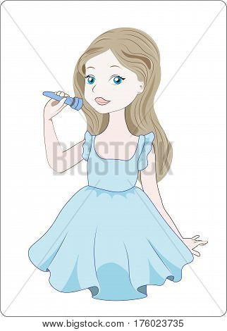 the little girl acts sings the song