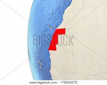 Western Sahara On 3D Globe