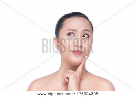 Portrait of beautiful young asian woman looking at camera. Natural beauty concept