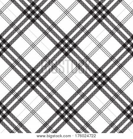 Black white check pixel square fabric texture seamless pattern. Vector illustration.