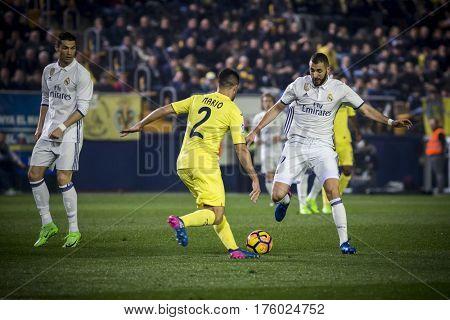 VILLARREAL, SPAIN - FEBRUARY 26: 2 Mario and Benzema during La Liga match between Villarreal CF and Real Madrid at Estadio de la Ceramica on February 26, 2017 in Villarreal, Spain