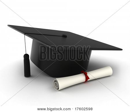 3D Illustration of a Graduation Cap and Diploma