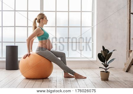 Keeping fit for my baby. Side view of young pregnant woman working out with exercise ball at home against big window