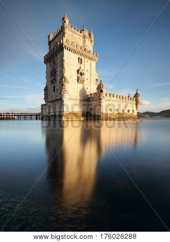 Lisbon Belem tower at sunset Lisboa - Portugal