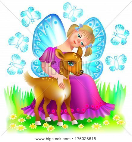 Illustration of small fairy hugging a cute fawn, vector cartoon image.