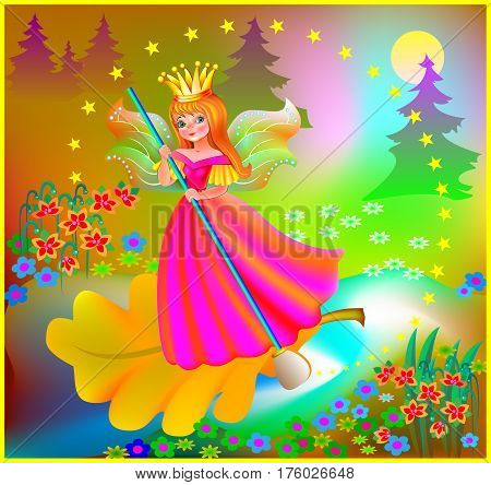 Illustration of beautiful fairy floating down the river in the magic forest, vector cartoon image.