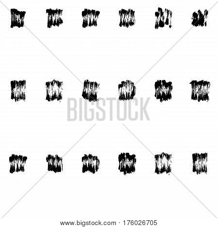 Hand-drawn grunge pattern with a dry brush using black ink. Seamless pattern made of geometric shapes, strokes and spots. Vector background can be used in printing, fabric, packaging, fashion, wraping