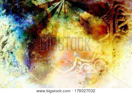 filigrane ornamental structure on abstract cosmic background, collage