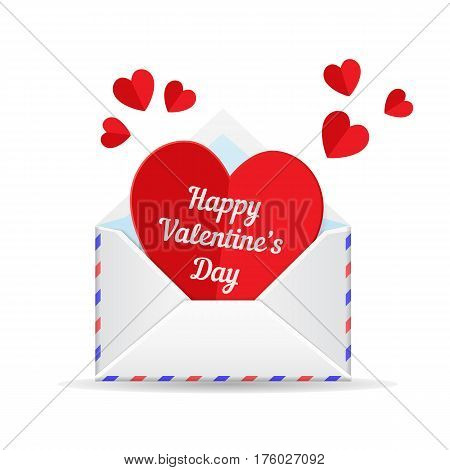 Love mail, valentines day heart. Paper cut heart and envelope isolated on white background. Template for holiday design