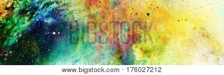 Cosmic space and stars, color cosmic abstract background and gentle ornament