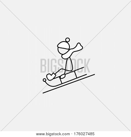 Stick figure boy doing winter activities vector