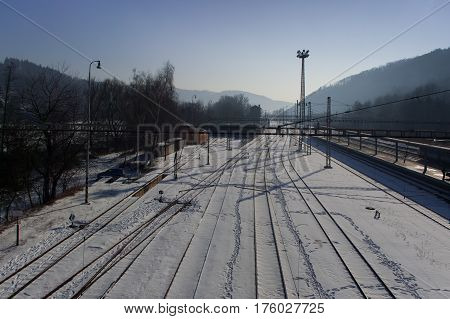 Snowy train station. The municipality Skalice, Czech Republic.