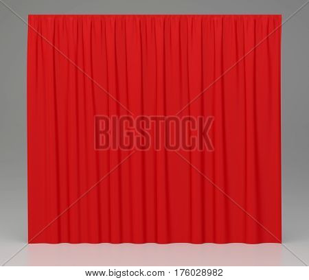 Red background closed curtain in theater. 3d rendering