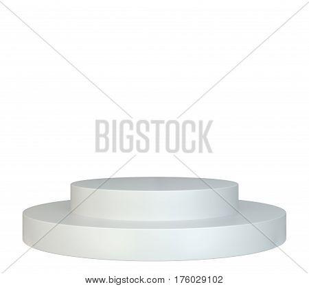 White round podium. Pedestal scene. 3D rendering isolated