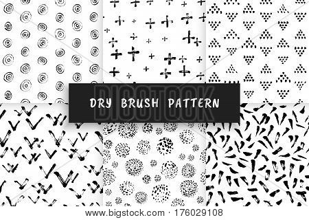 Set Hand-drawn grunge pattern with a dry brush. Seamless pattern made of geometric shapes, strokes and spots. Vector background can be used in printing, fabric, packaging, fashion, wraping.