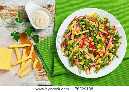 Green Beans, Corn, Ham And Cheese Salad