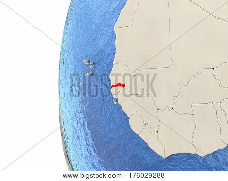 Gambia On 3D Globe