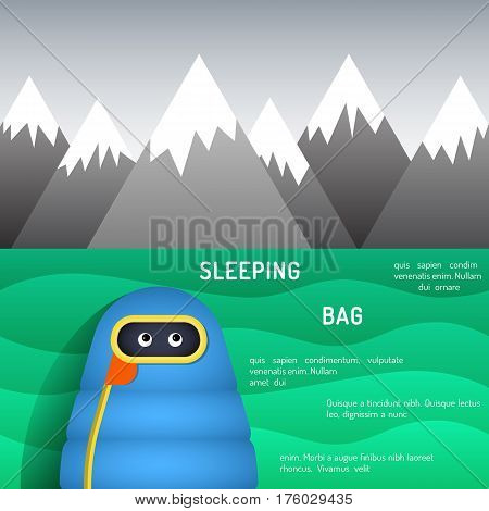 The character is in a sleeping bag sleeping on green grass on a background of mountains in the camp