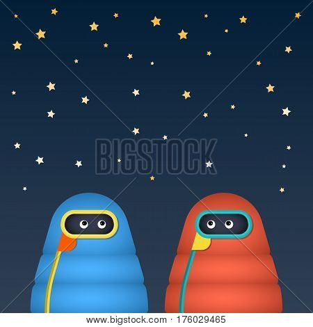 The character is in a sleeping bag on the starry sky